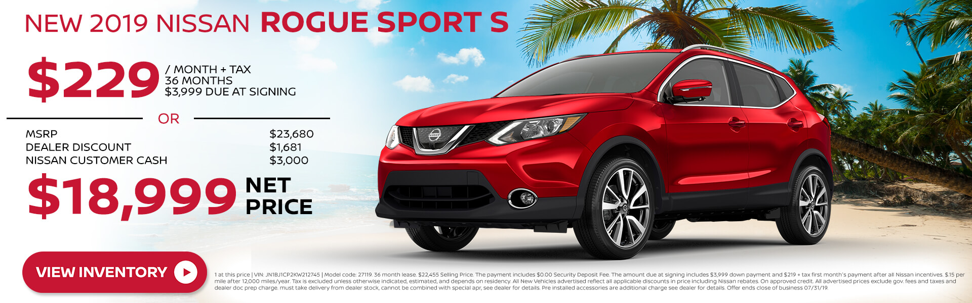 2019 Nissan Rogue Sport - Lease for $229