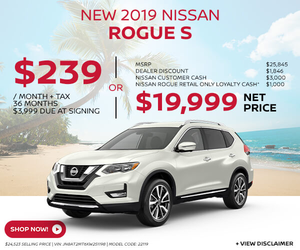 2019 Nissan Rogue - Lease for $239