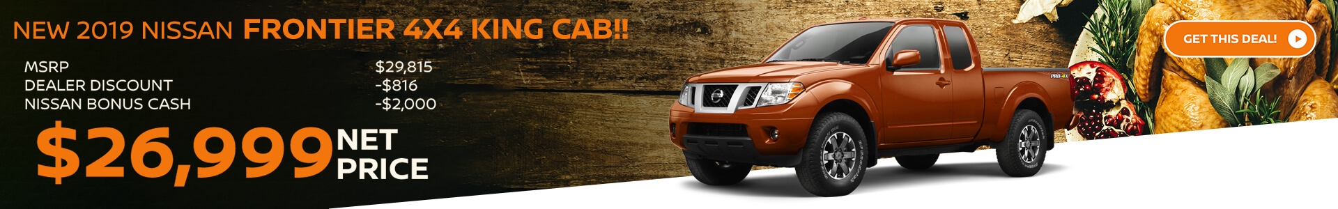 2019 Nissan Frontier King Cab - Lease for $299