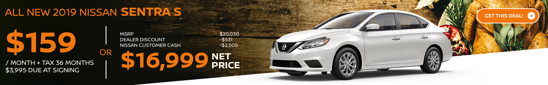 2019 Nissan Sentra Lease for $149