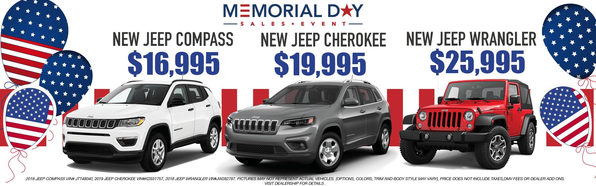 Jeeps: Compass,Cherokee,Wrangler