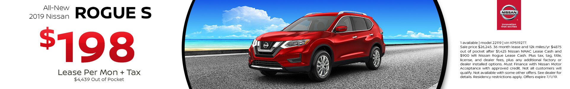 2019 Nissan Rogue Lease for $198