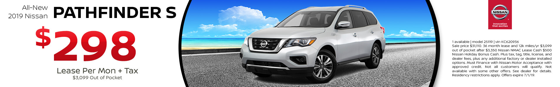 2019 Nissan Pathfinder Lease for $298