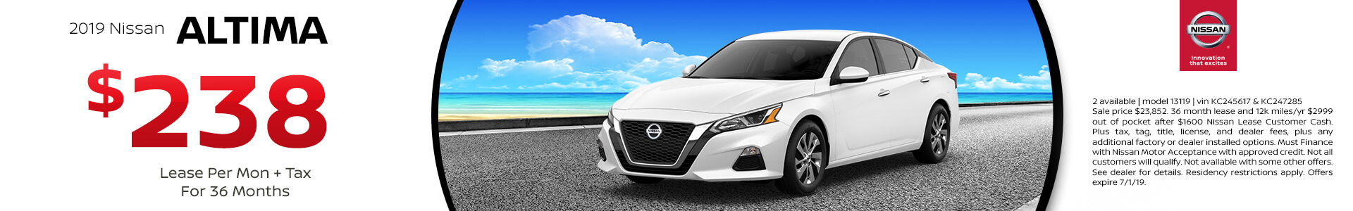 2019 Nissan Altima Lease for $238