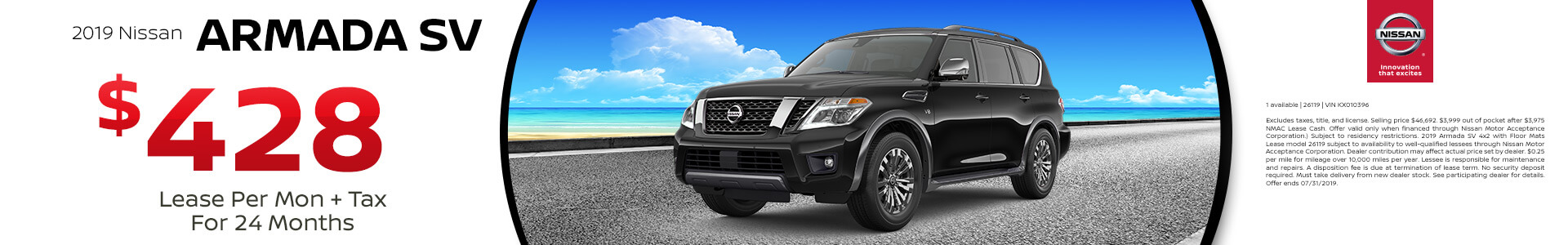 2019 Nissan Armada Lease for $349