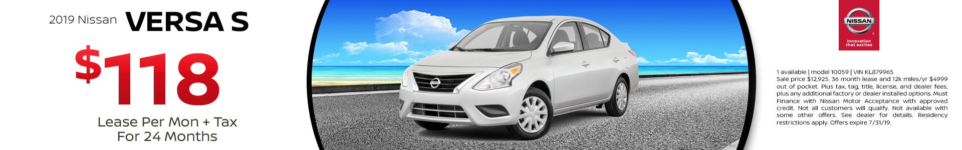 2019 Nissan Versa Lease for $118
