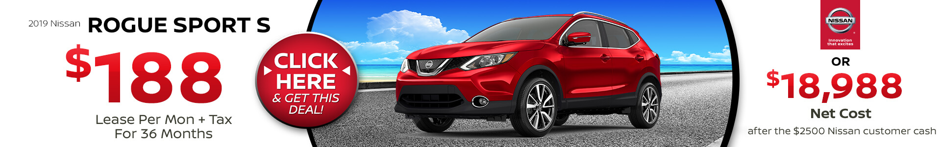 Nissan Rogue Sport $$188 Lease