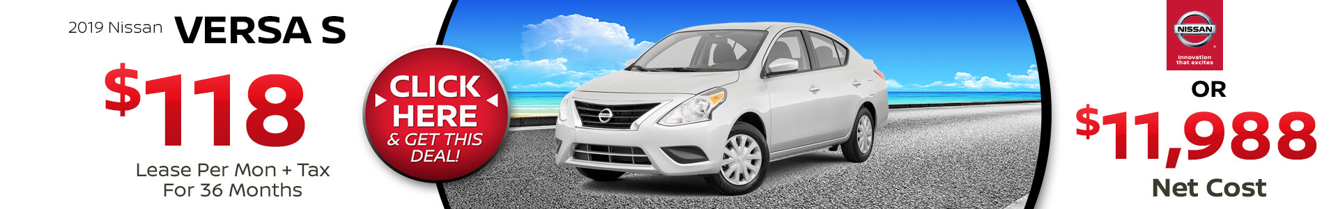 2019 Nissan Versa Lease for $$118