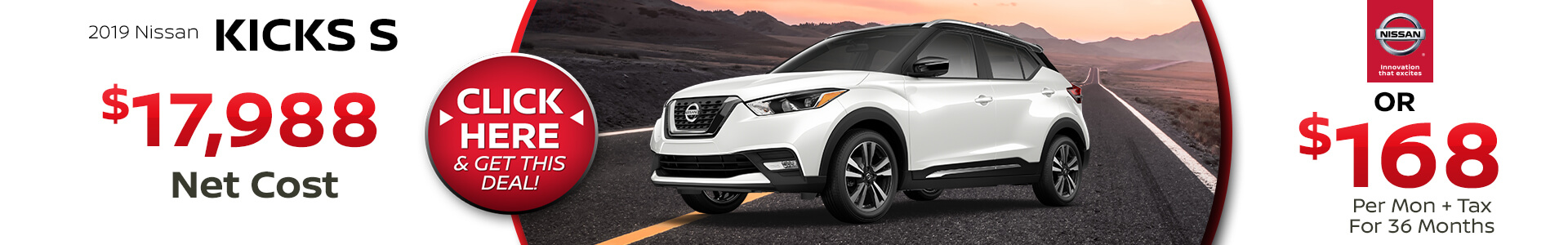 2019 Nissan Kicks Purchase for $$17,988