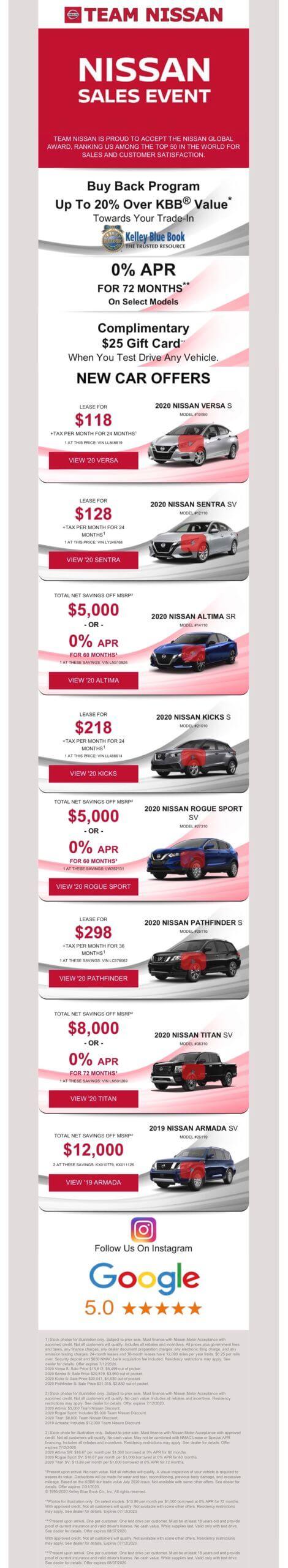 New Nissan Specials