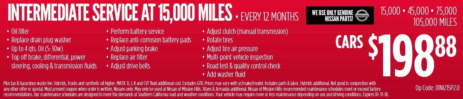 Intermediate Service at 15,000 Miles