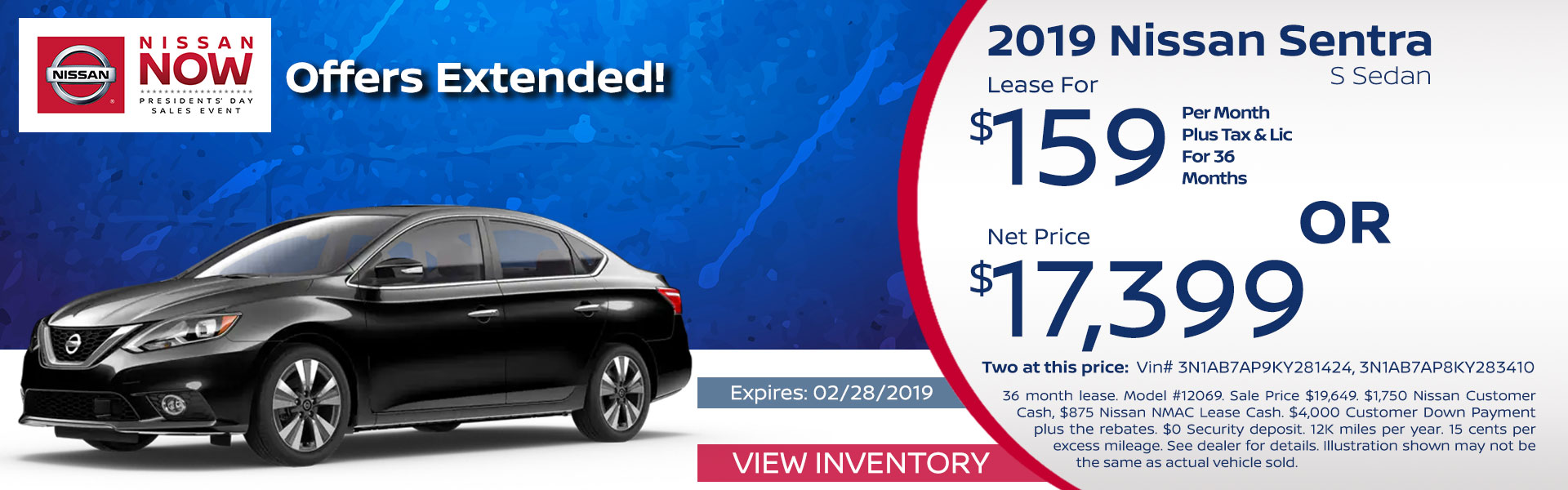 Sentra Lease and Net Price