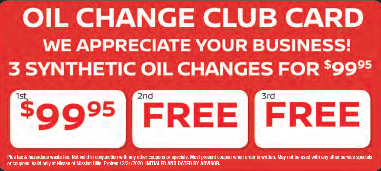 Oil Change Club Card