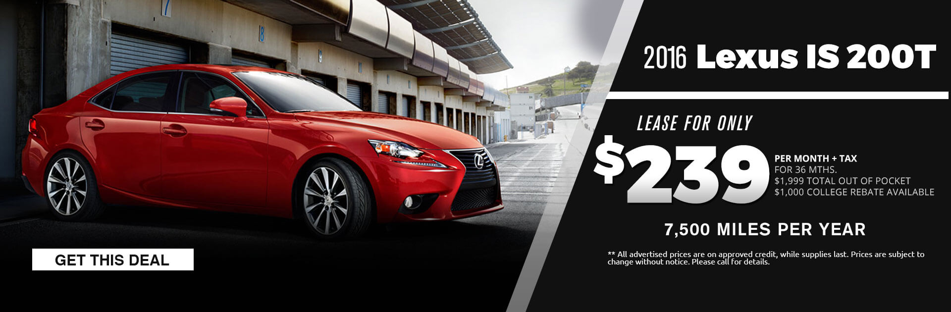 2016 Lexus IS200 Lease