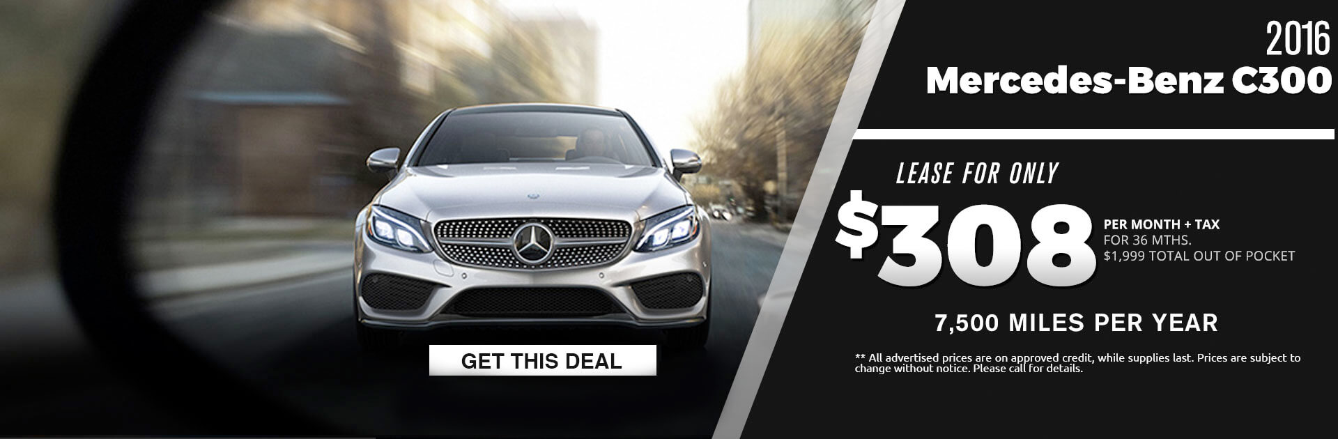 2016 Mercedes c-300 Lease