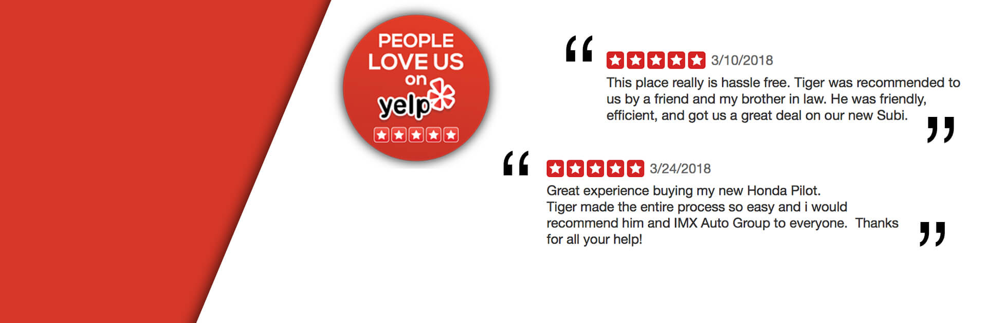 Yelp Review IMX Auto Group