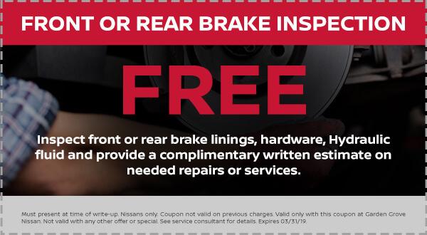Nissan Front or Rear Brake Inspection