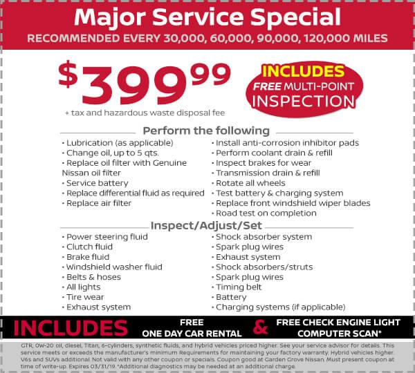 Nissan Major Service Special
