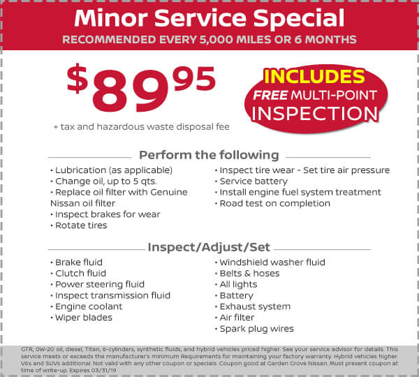 Nissan Minor Service Special