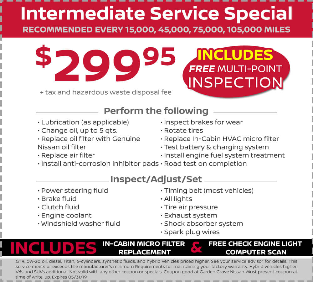 Nissan Intermediate Service Special
