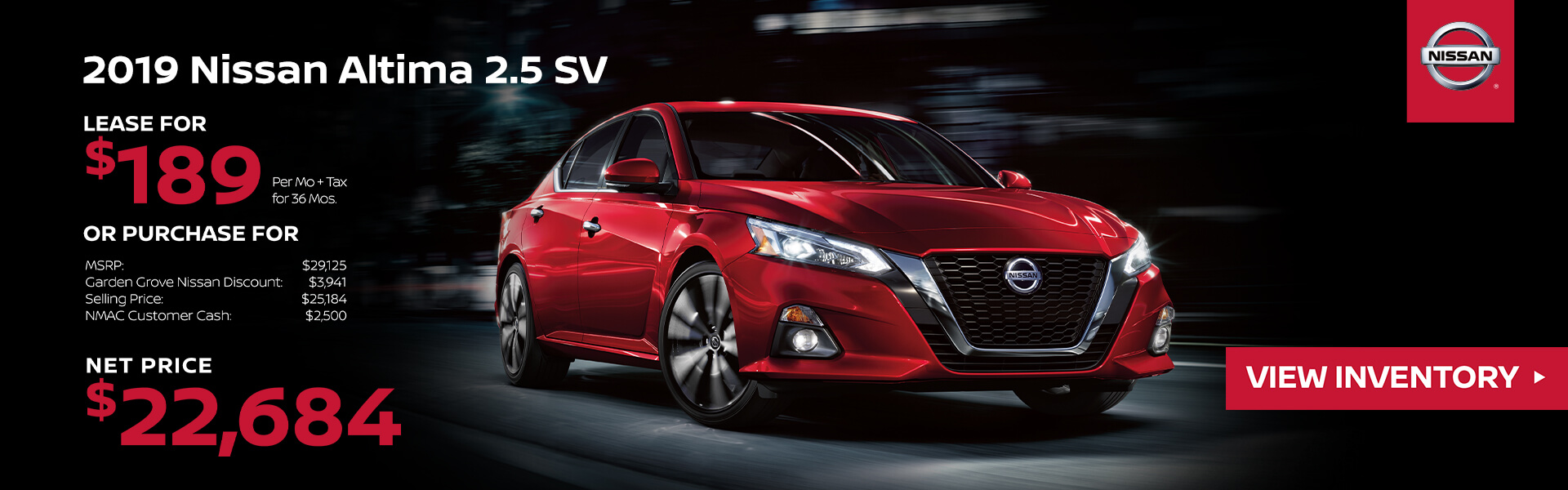 2019 Nissan Altima Lease for $189