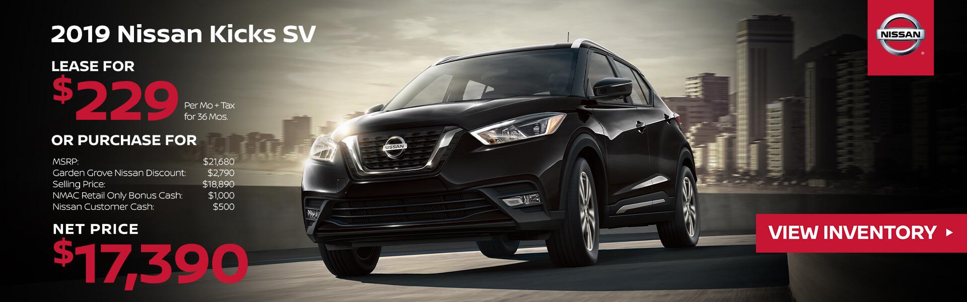 2019 Nissan Kicks Lease for $229