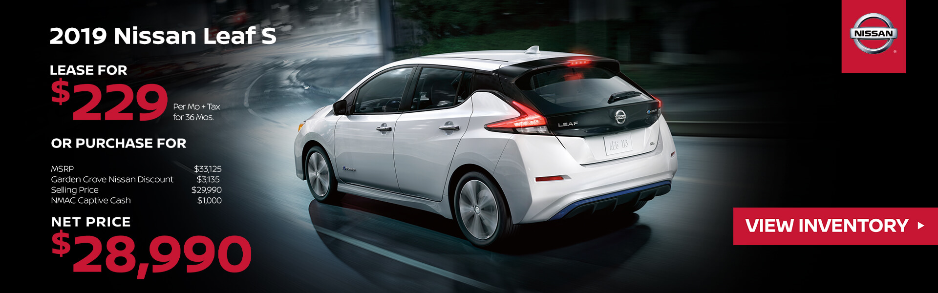 2019 Nissan Leaf Lease for $229