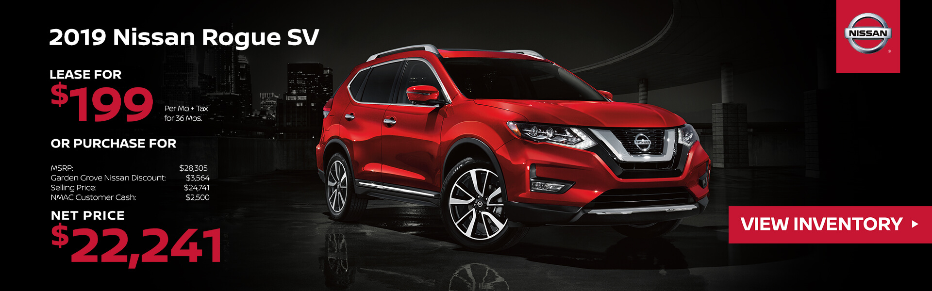 2019 Nissan Rogue Lease for $199