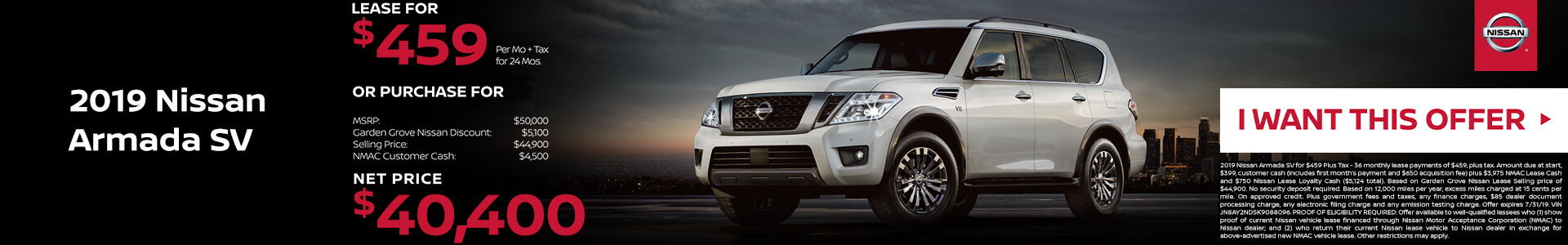 2019 Nissan Armada Lease for $459