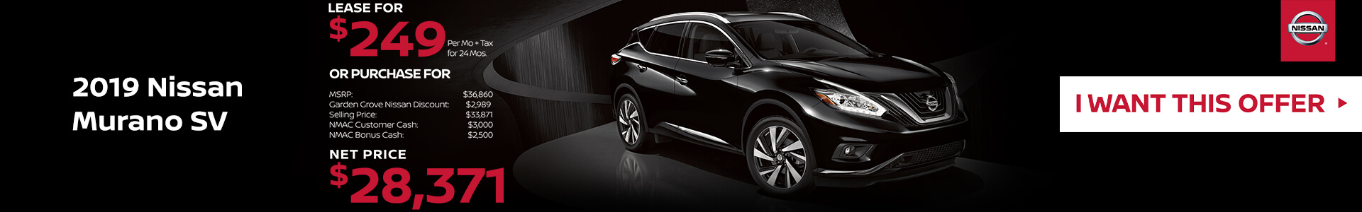 2019 Nissan Murano Lease for $2499