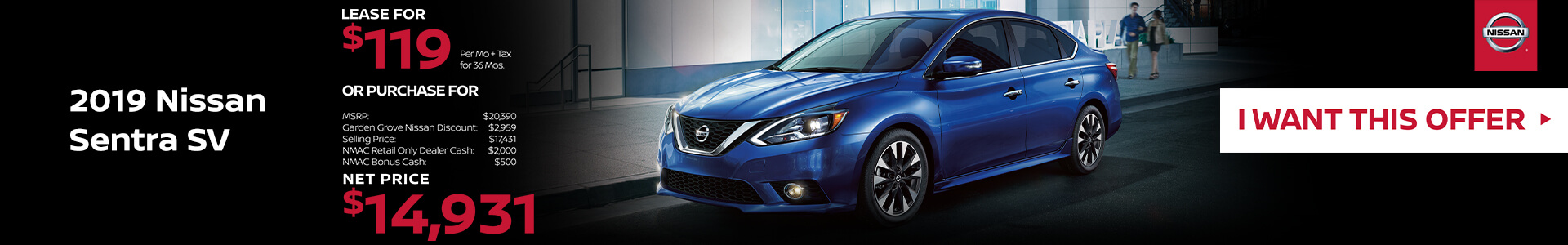 2019 Nissan Sentra Lease for $119