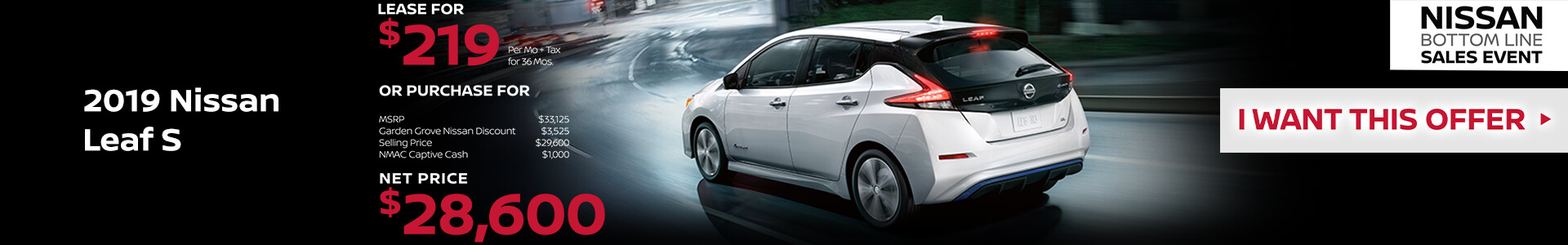 2019 Nissan Leaf Lease for $219