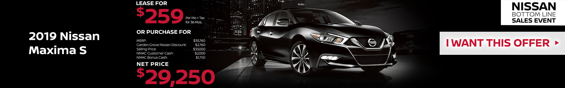 2019 Nissan Maxima Lease for $239