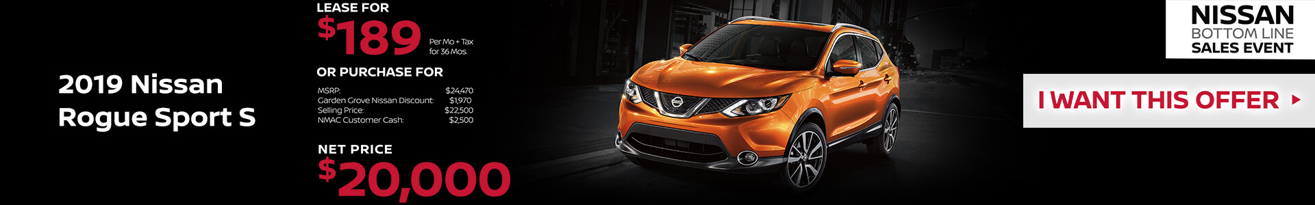 2019 Nissan Rogue Sport Lease for $189