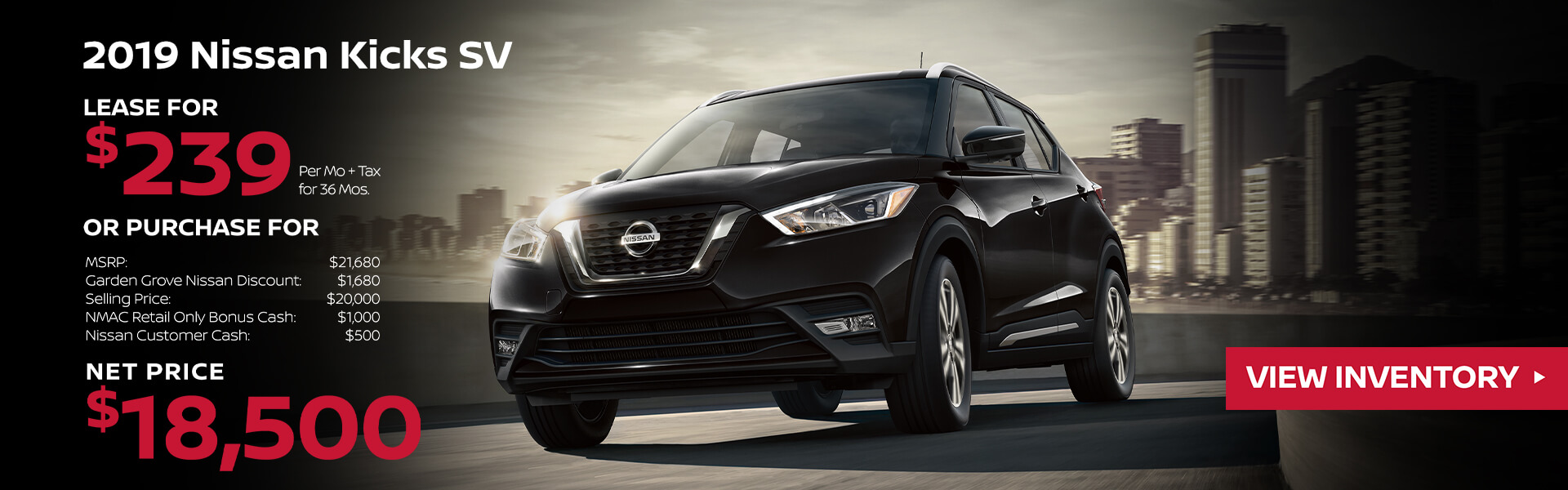 2019 Nissan Kicks Lease for $239