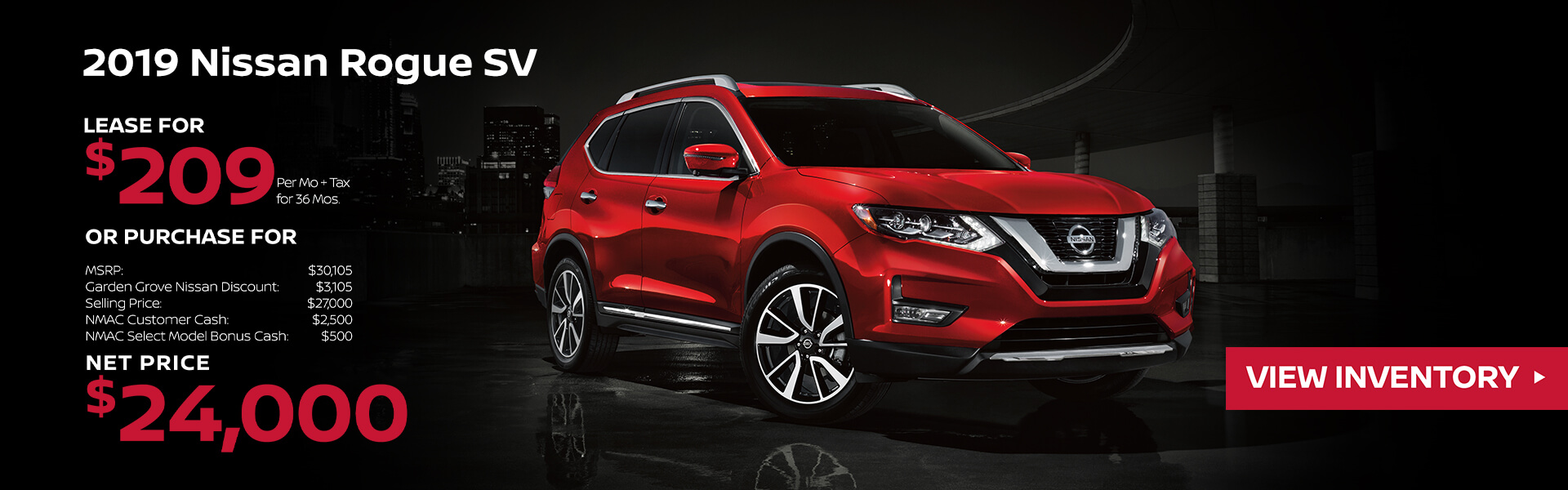 2019 Nissan Rogue Lease for $209