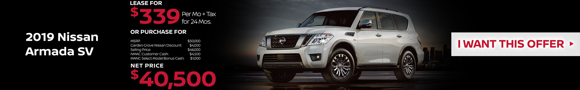 2019 Nissan Armada Lease for $339
