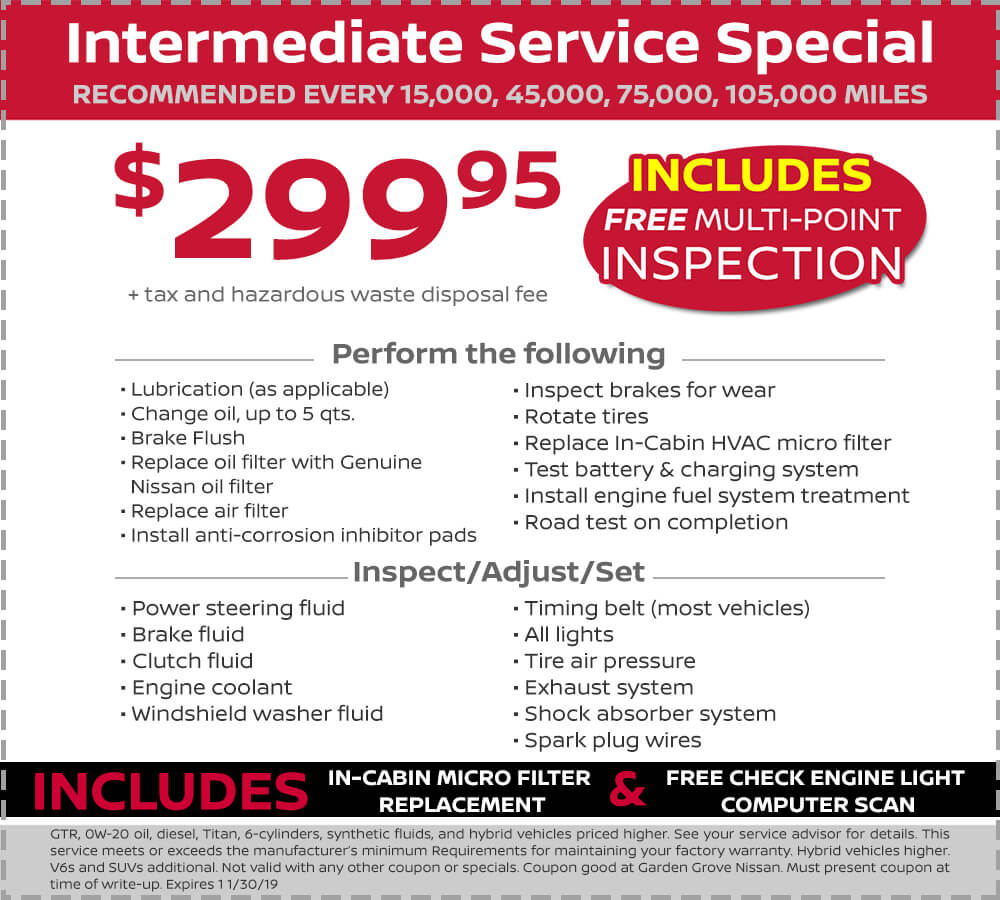 Nissan Intermediate Service Special