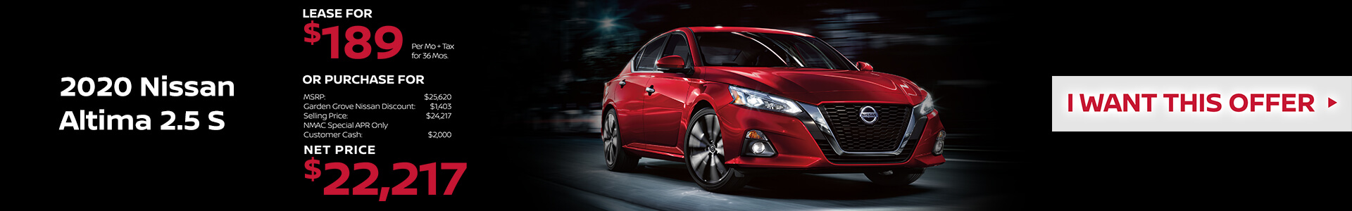 2020 Nissan Altima Lease for $189