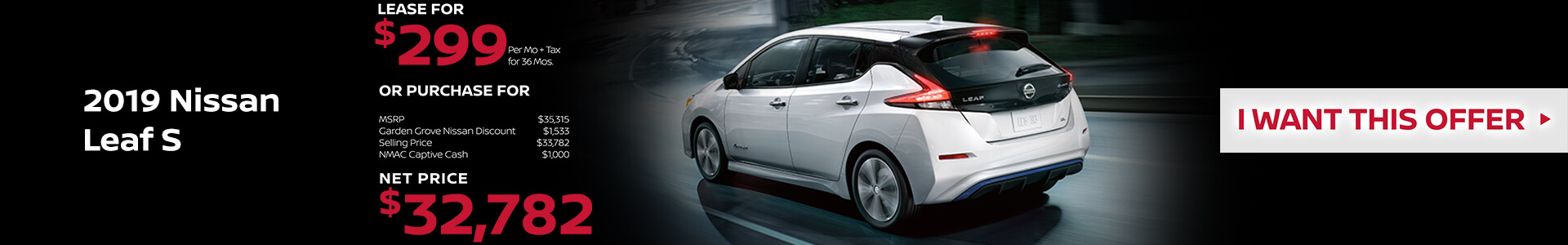 2019 Nissan Leaf Lease for $299