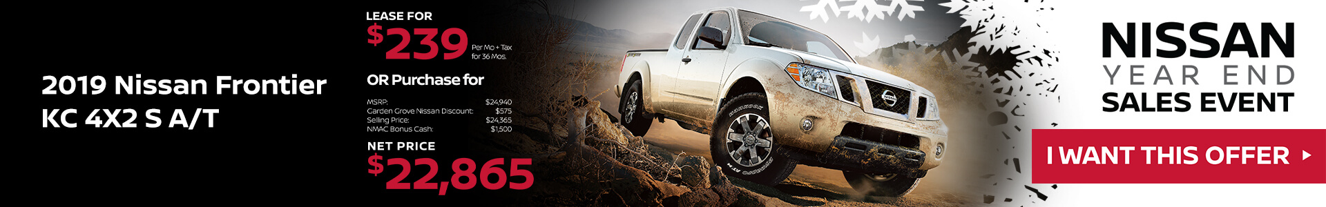 2019 Nissan Frontier Lease for $239