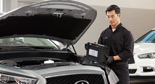 COMPLIMENTARY BATTERY INSPECTION Let us check your Battery, with our Factory Certified equipment, to assure your INFINITI starts on those cold mornings!!!