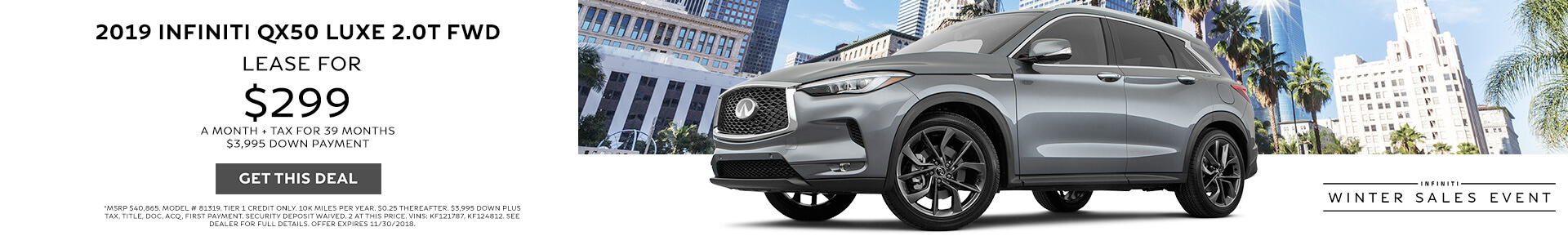 QX50 Lease for $389 per month