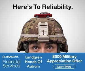Here's to Reliabilitiy. Financial Services Lundgren Honda of Auburn $500 Military Appreciation Offer