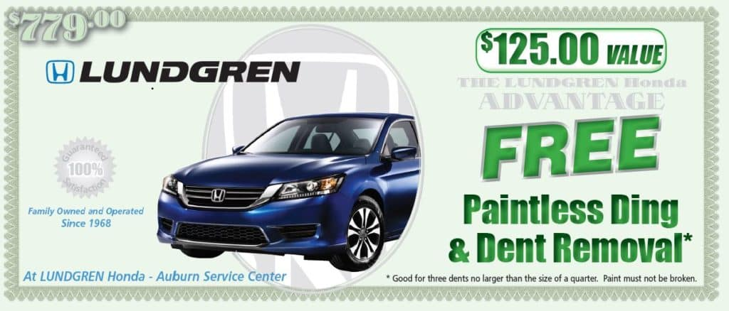 free paintless ding & dent removal