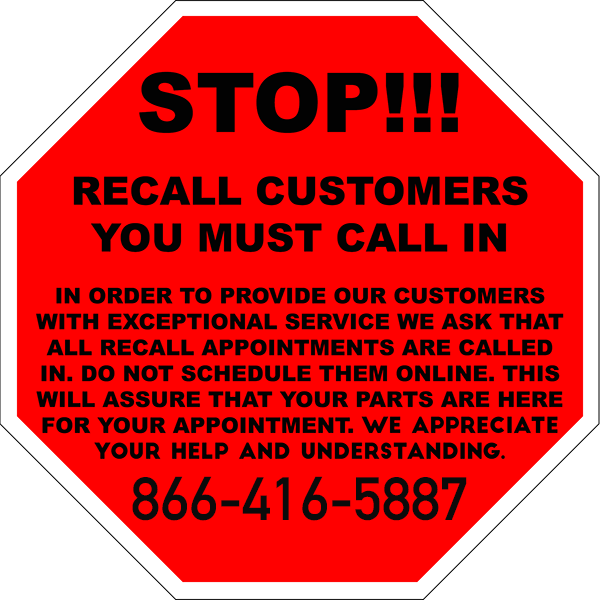 Attention Recall Customers!