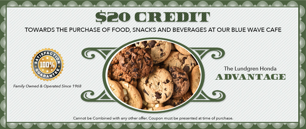$20.00 credit towards the purchase of food, snacks, and beverages at our blue wave cafe