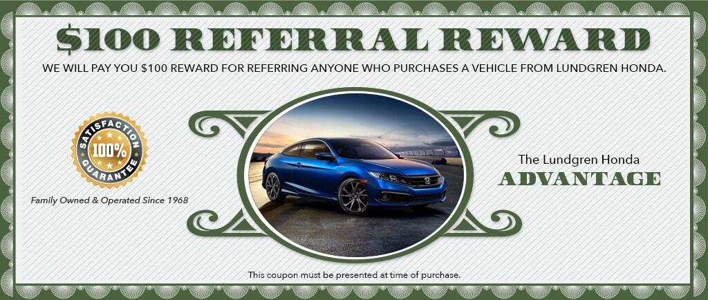 $100.00 referral reward