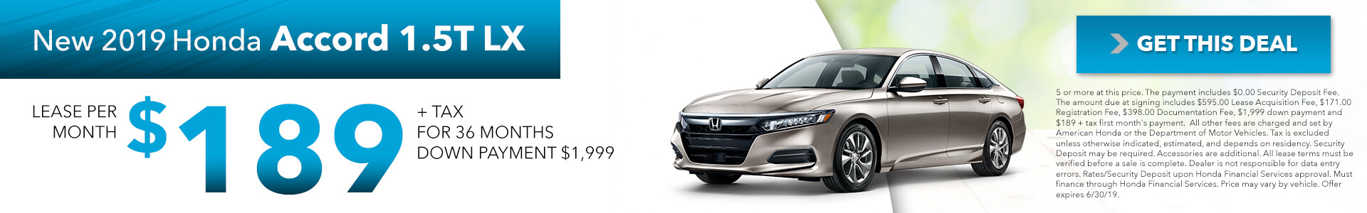 2019 Honda Accord 189 Per Month