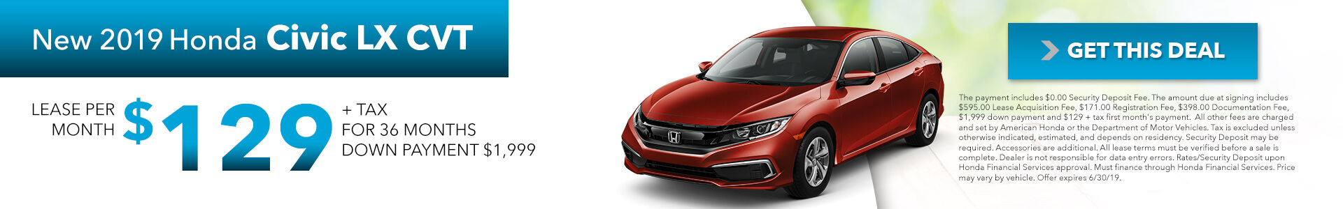 2019 Honda Civic 129 Per Month